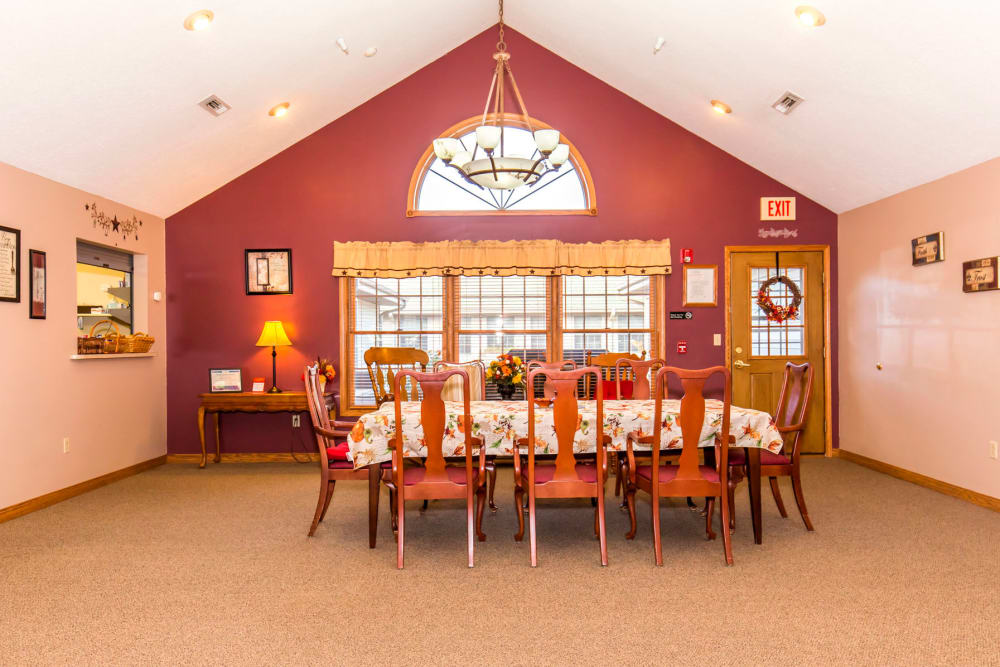 Cozy wood dining room at Emerald Glen of Olney in Olney, Illinois