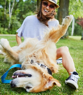 Resident playing a local park with her furbaby near The Artisan Apartment Homes in Sacramento, California