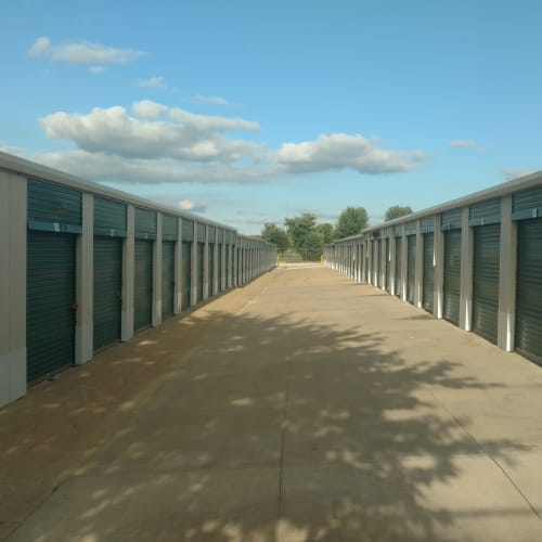 Outdoor storage units at Red Dot Storage in Bloomington, Illinois