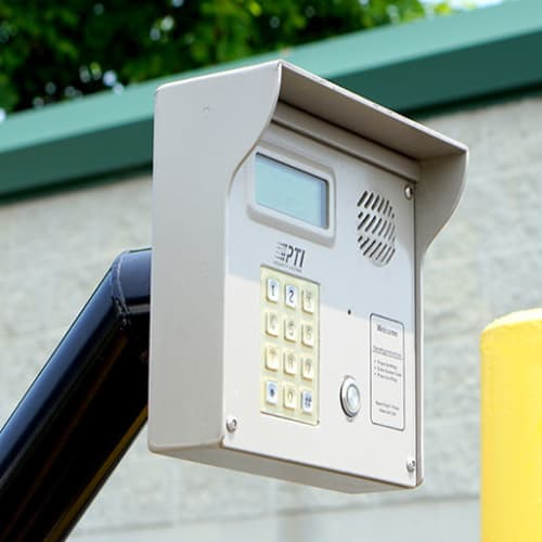 Keypad at the entrance to Red Dot Storage in Huntsville, Alabama