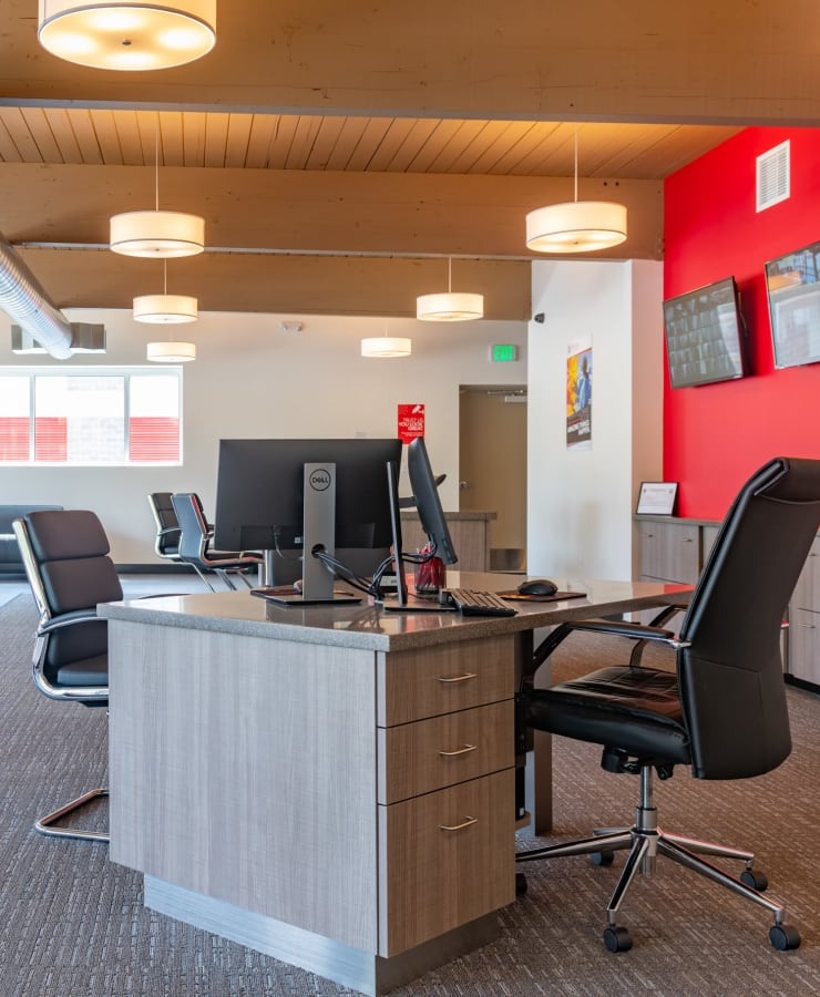 Interior of the leasing office at StorQuest Self Storage in Portland, Oregon