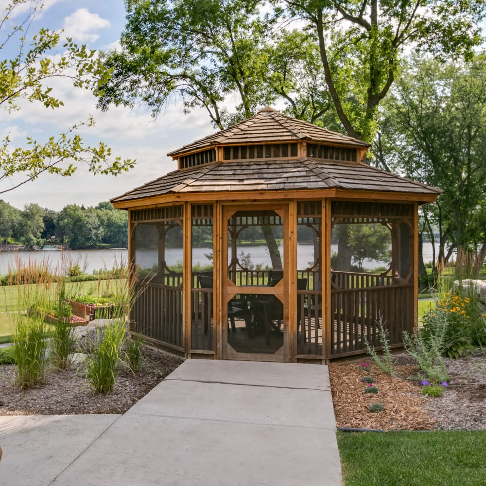 Shaded gazebo at Applewood Pointe of Champlin in Champlin, Minnesota.