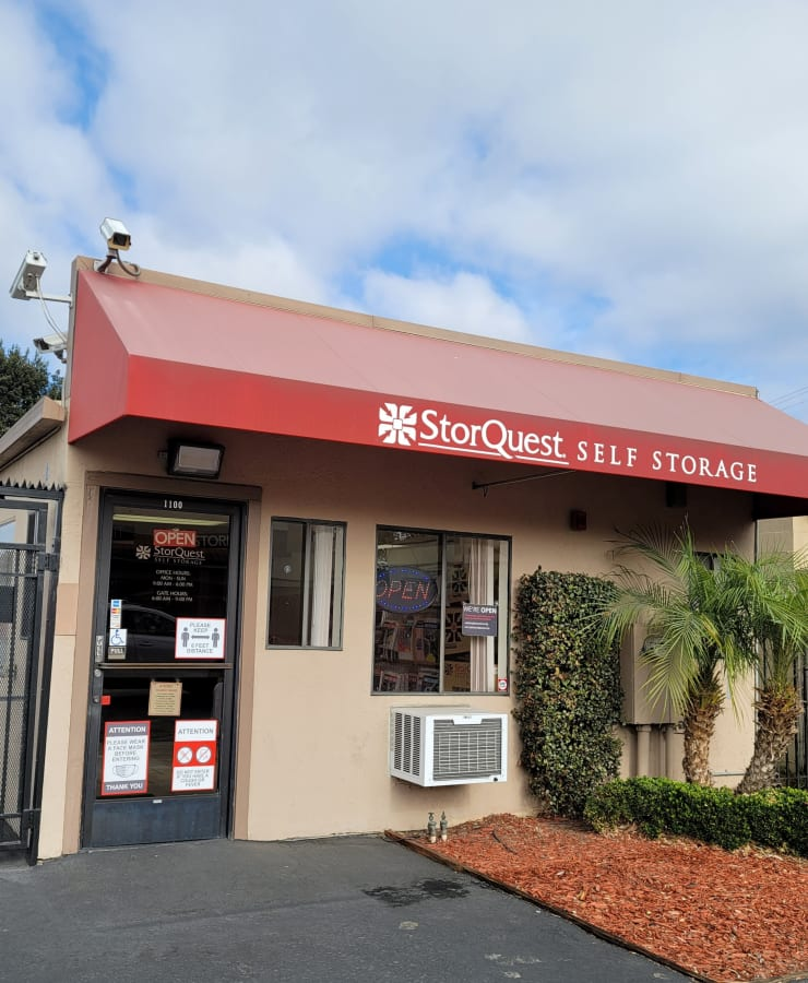 The exterior of the main entrance at StorQuest Self Storage in San Leandro, California