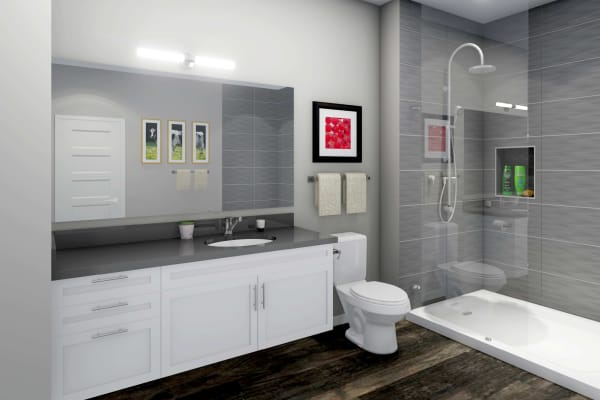 Luxurious bathroom at Hawthorne Hill Apartments in Thornton Colorado