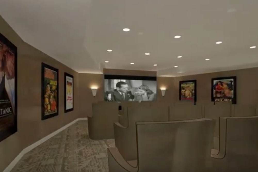 A rendering of a theater at Harmony at Brentwood in Brentwood, Tennessee