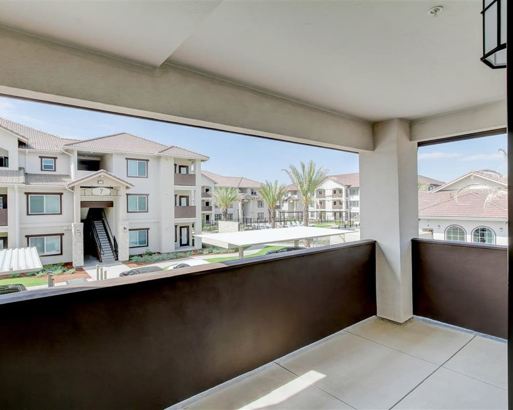 Private balcony with a view at The Palms at Morada in Stockton, California