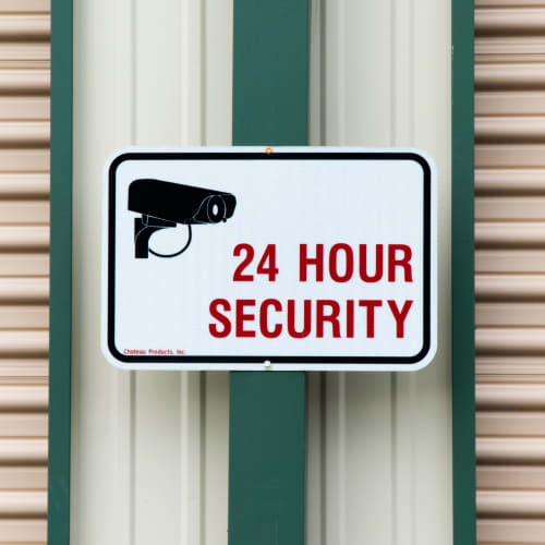 Sign for 24 hour security at Red Dot Storage in Radcliff, Kentucky