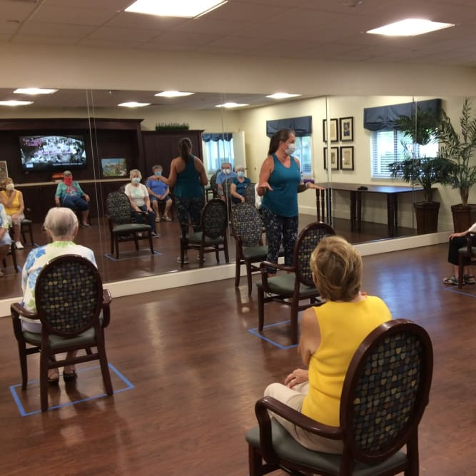 Residents social distancing during presentation
