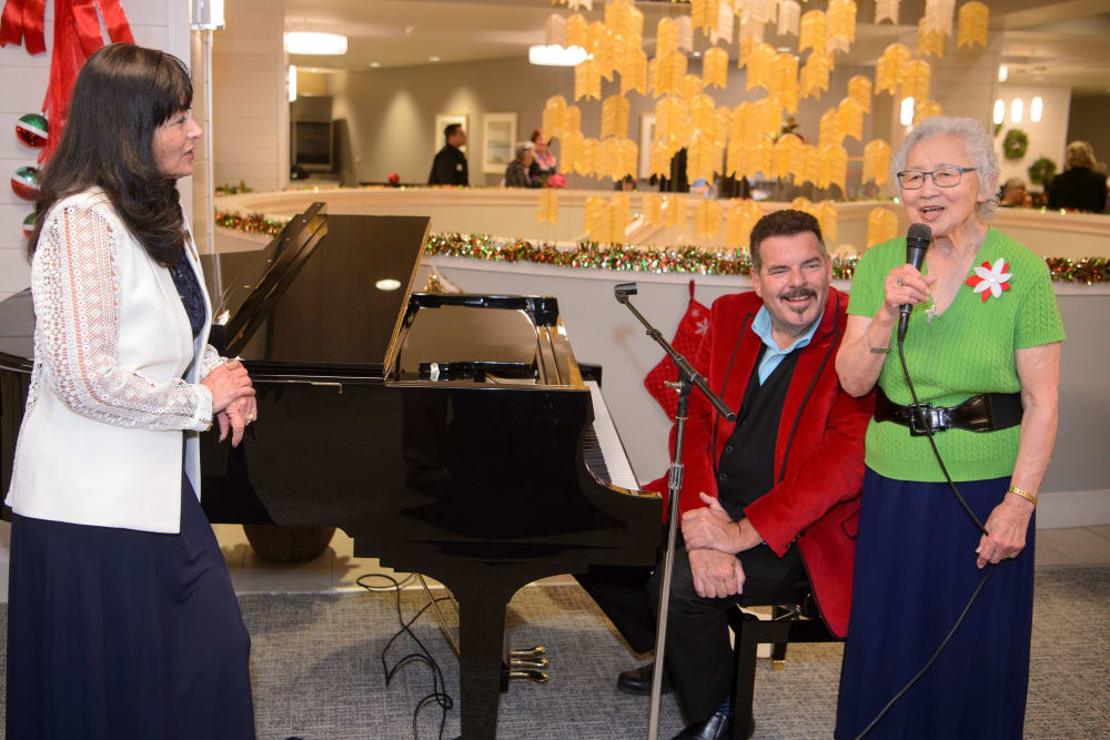 Residents enjoying the holidays together at our senior living community