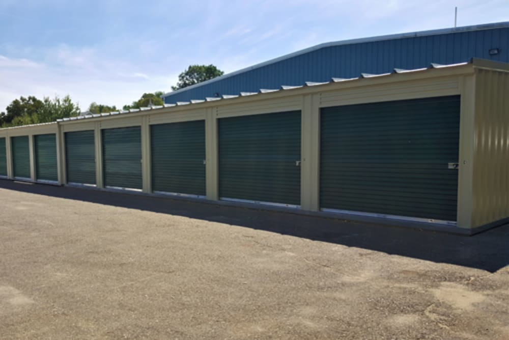 A row of storage units at 603 Storage - Route 27 in Raymond, New Hampshire