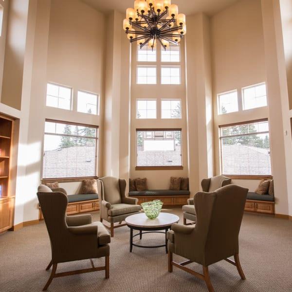 Sunlit reading room at Quail Park at Browns Point in Tacoma, Washington