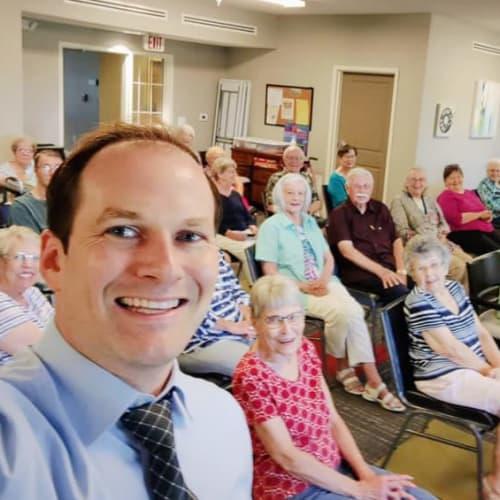 Residents with Wichita Mayor at Oxford Villa Active Senior Apartments in Wichita, Kansas