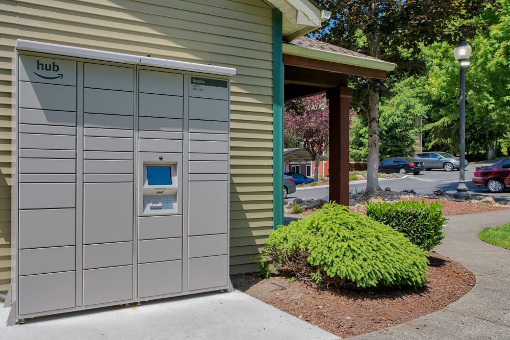 Amazon HUB Package Lockers Aravia Apartments in Tacoma, Washington