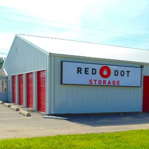 Outdoor storage units at Red Dot Storage in Greenbrier, Tennessee