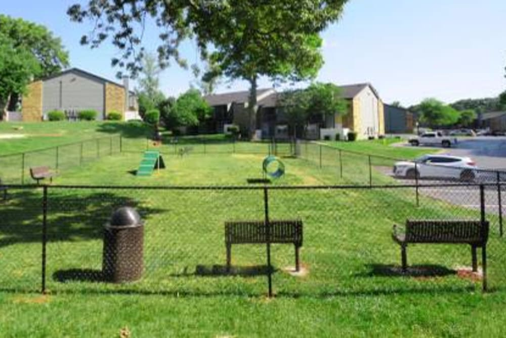 Expansive onsite dog park with an agility course at Goldelm at Metropolitan in Knoxville, Tennessee