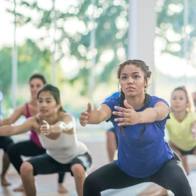 Residents in a fitness class at Haven Apartment Homes in Kent, Washington