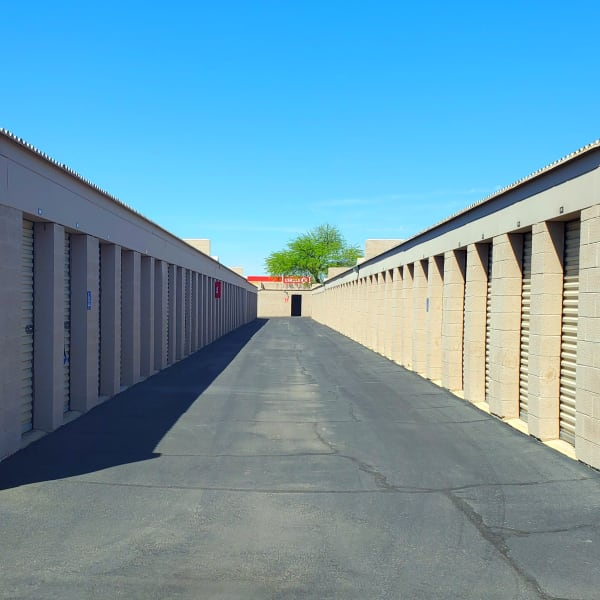 Outdoor drive-up storage units at StorQuest Self Storage in Phoenix, Arizona