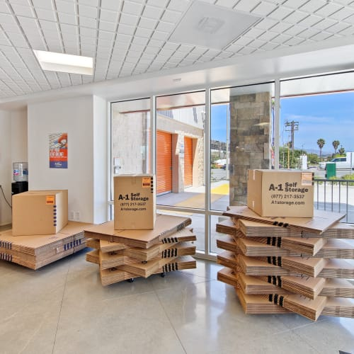 A variety of packing boxes at A-1 Self Storage