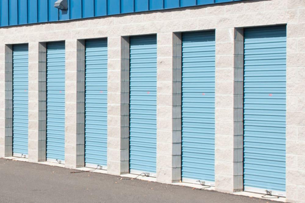 Outdoor storage units at A-American Self Storage in Rialto, California