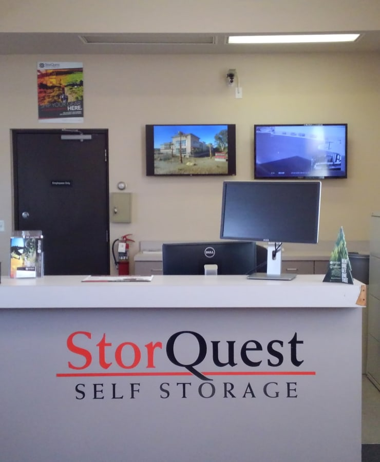 Interior of the leasing office at StorQuest Self Storage in Glendale, Arizona