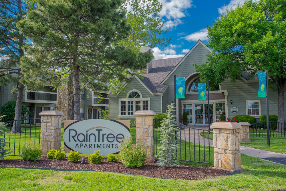 Front sign at Raintree Apartments in Wichita, Kansas