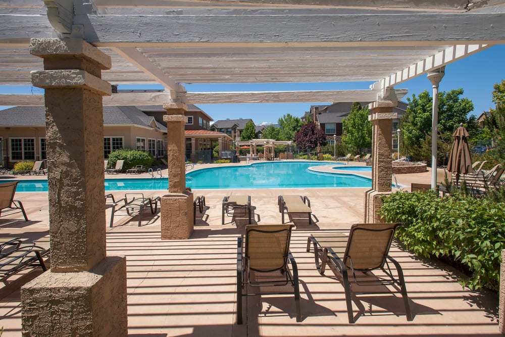 Resort-style swimming pool at The Vintage at South Meadows Condominium Rentals in Reno, Nevada