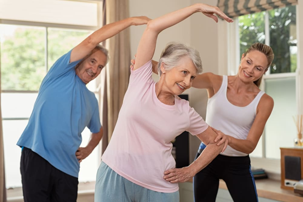Residents taking an exercise class at WellQuest of Elk Grove in Elk Grove, California