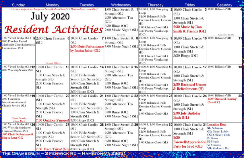 Sample activities calendar at The Chamberlin