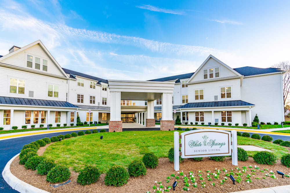 The front of the building at White Springs Senior Living in Warrenton, Virginia