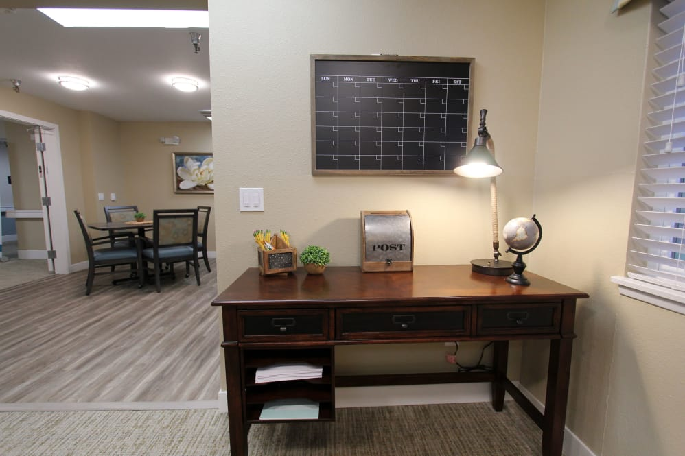 Writing desk with calendar at The Village Senior Living in Tacoma, WA