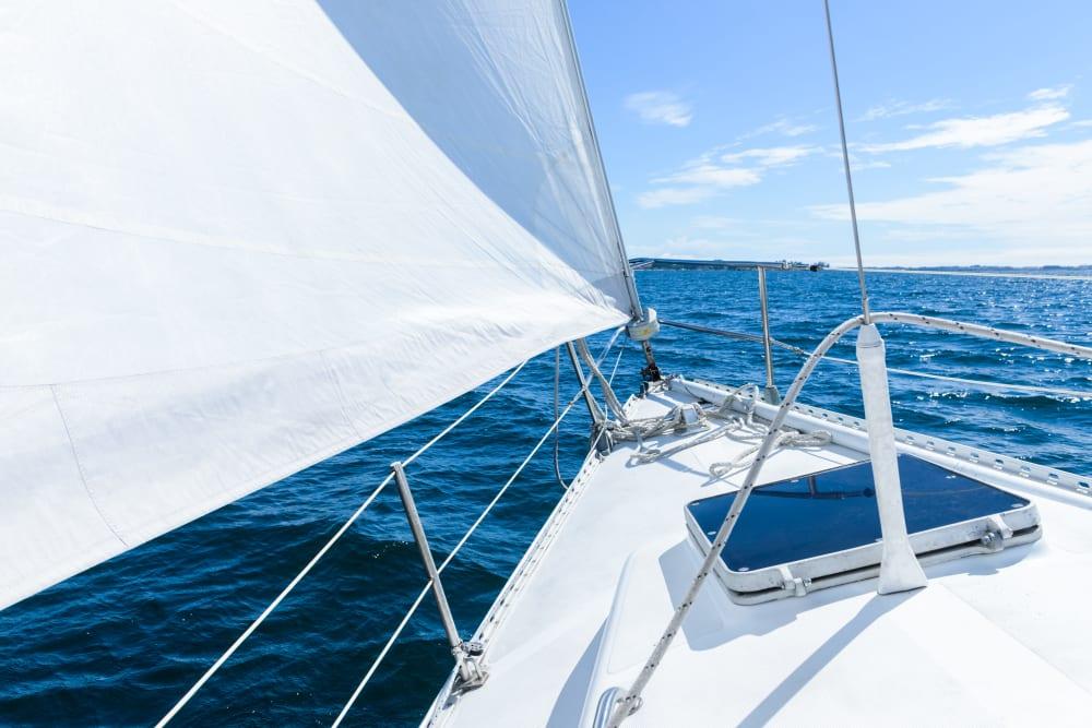 A sail boat out near Hayward Storage LLC in Hayward, California