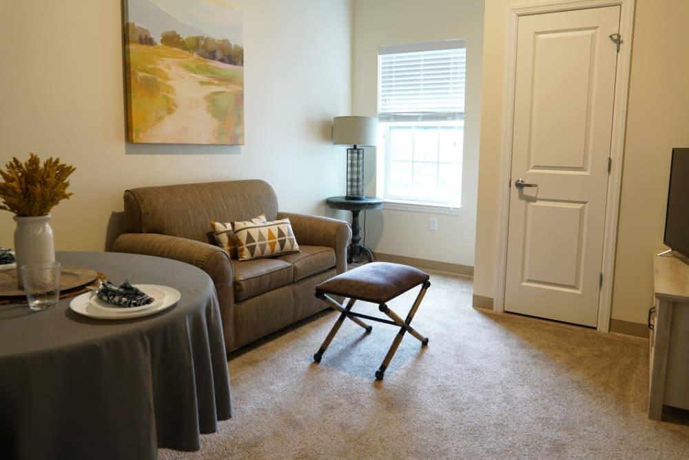 Living room at Harmony at Morgantown in Morgantown, West Virginia