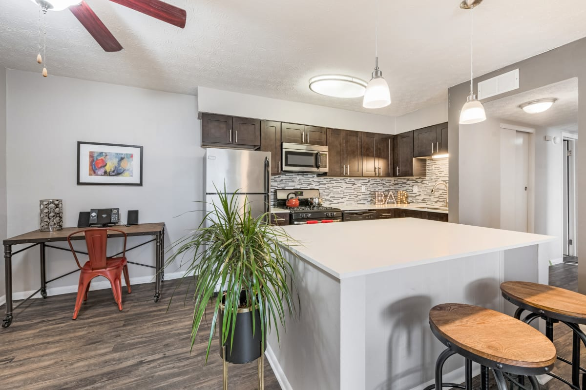 Modern apartment kitchen at Fox and Hounds Apartments in Columbus, Ohio