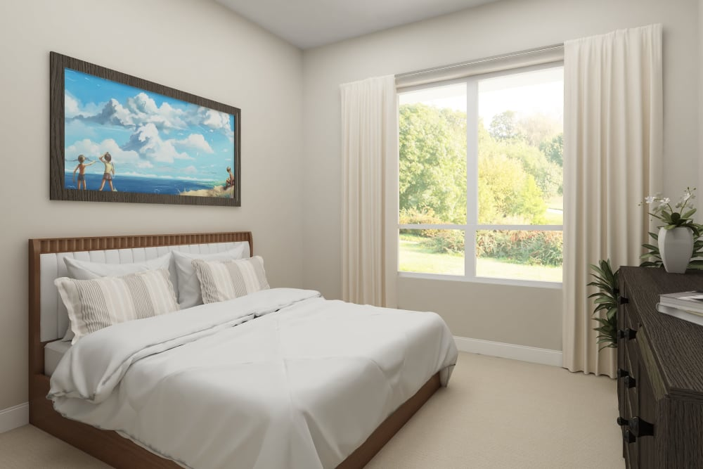 Architectural rendering of bedroom at Harmony at Bellevue in Nashville, Tennessee