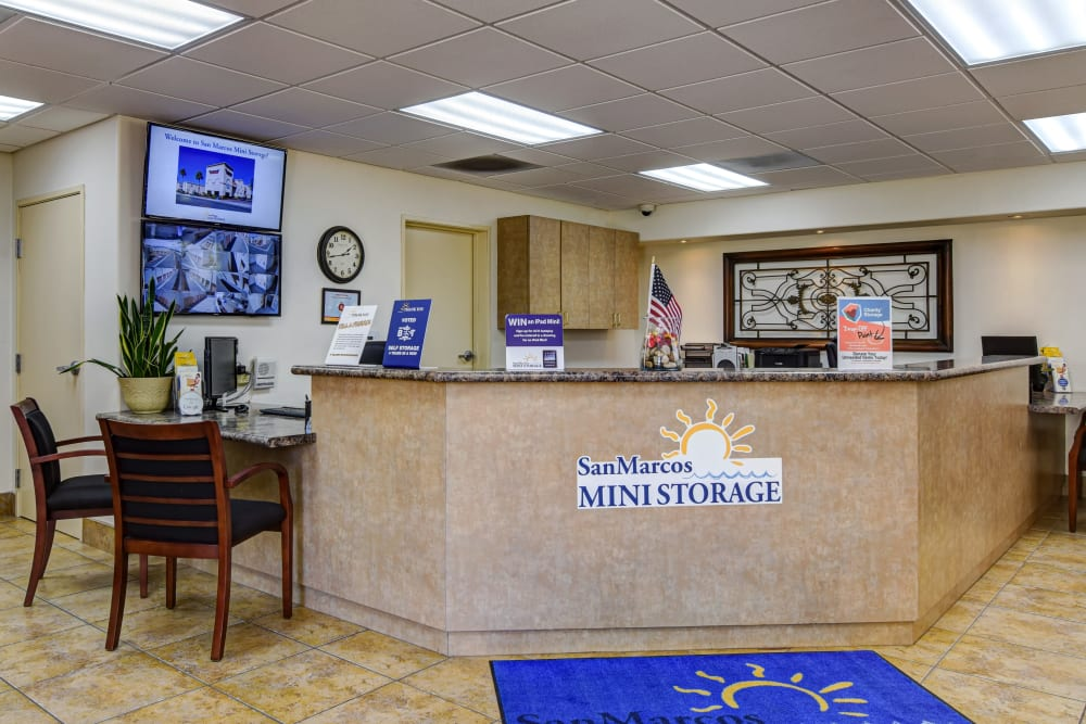 Leasing desk at San Marcos Mini Storage in San Marcos, CA