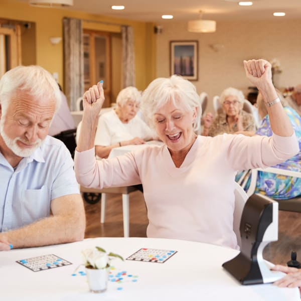 Residents playing bingo at Pacifica Senior Living Sterling in Sterling, Virginia