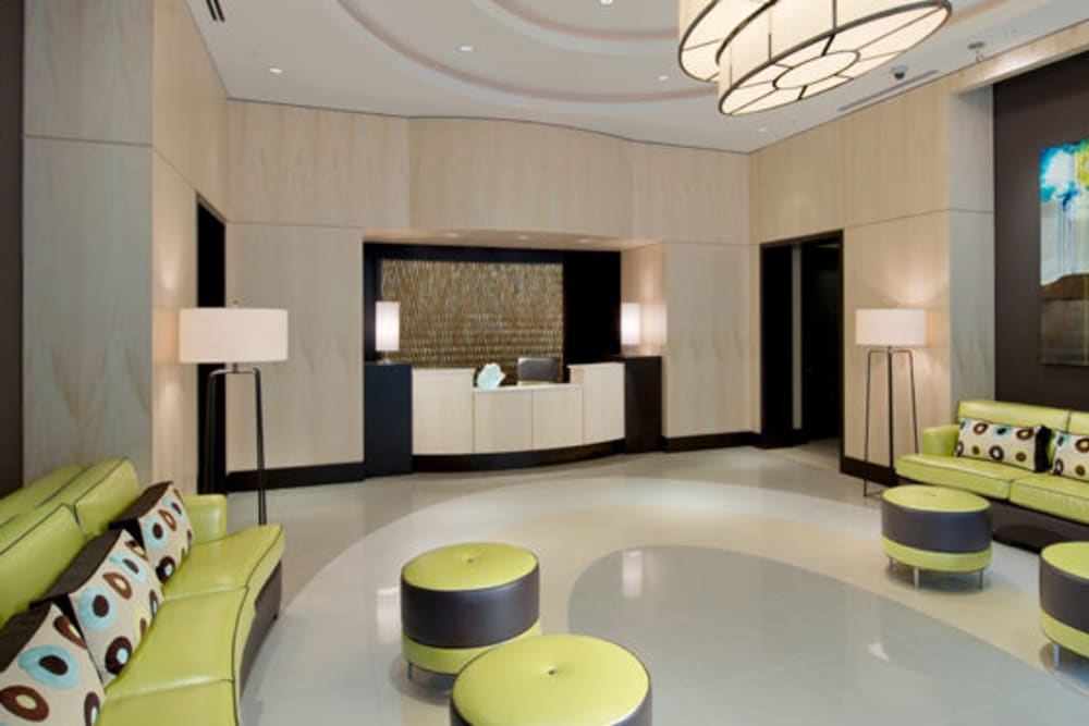 A lobby with a modern esthetic at Solaire 1150 Ripley in Silver Spring, Maryland