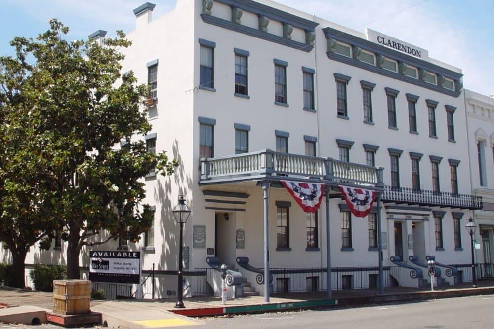 Street entrance to Clarendon House in Sacramento, California