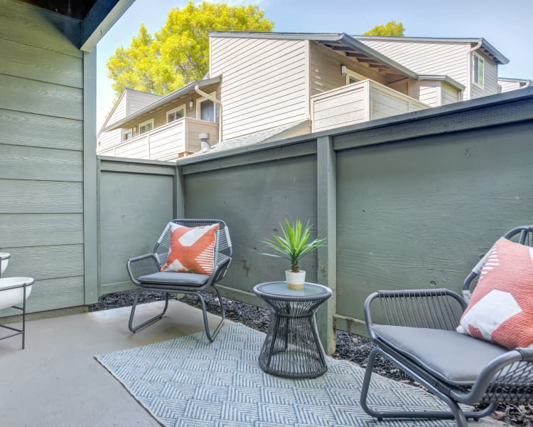 Relaxing private patio space outside a model home at Sofi Union City in Union City, California