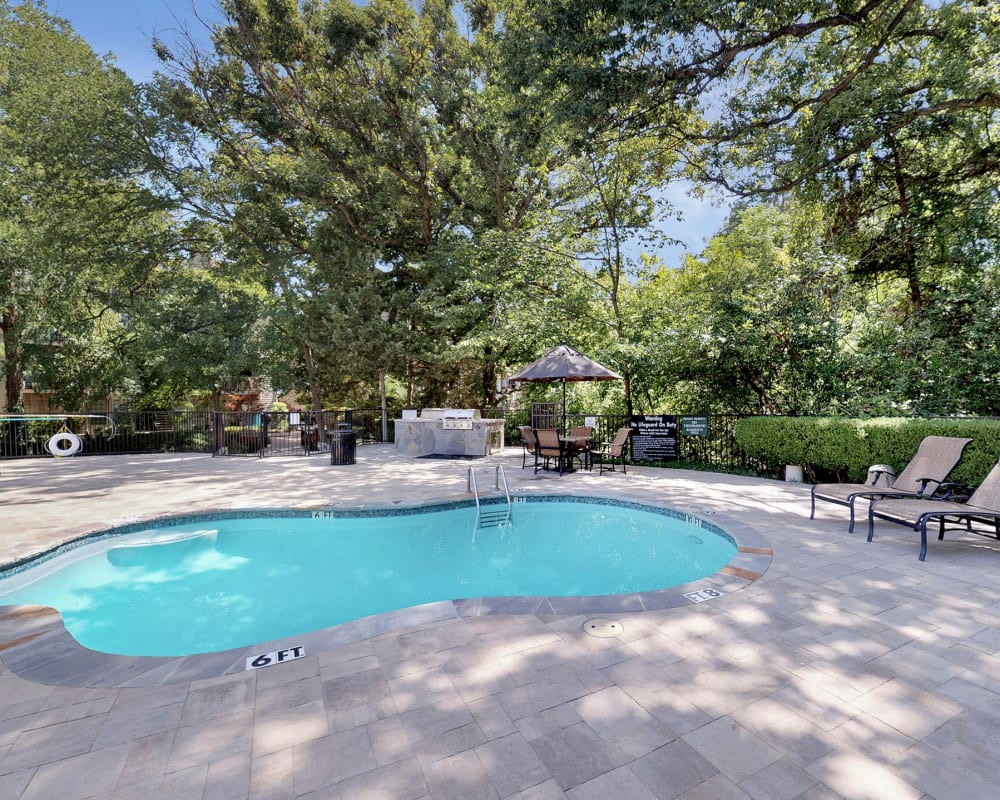 Sparkling swimming pool at Oaks White Rock in Dallas. Texas