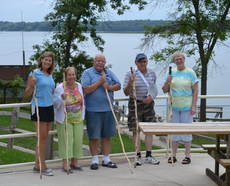 Residents out on a walk near Ebenezer Ridges Campus in Burnsville, Minnesota