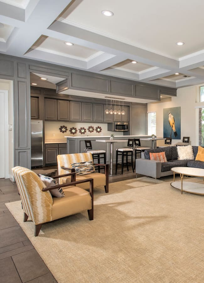 A spacious clubhouse with a community kitchen at Alicante Apartment Homes in Aliso Viejo, California