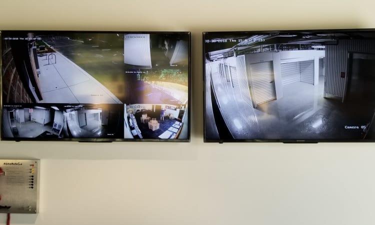 Two security monitors at Steele Creek Self Storage in Charlotte, North Carolina