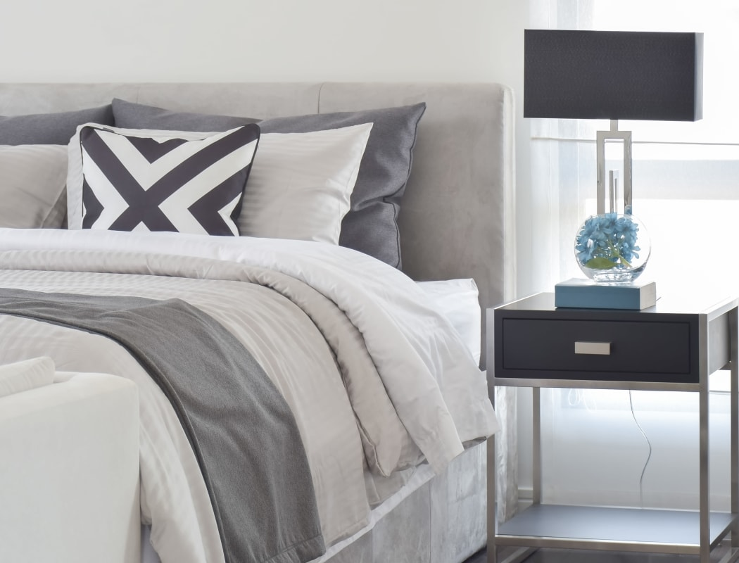 Well decorated, modern bedroom at 1038 on Second in Lafayette, California