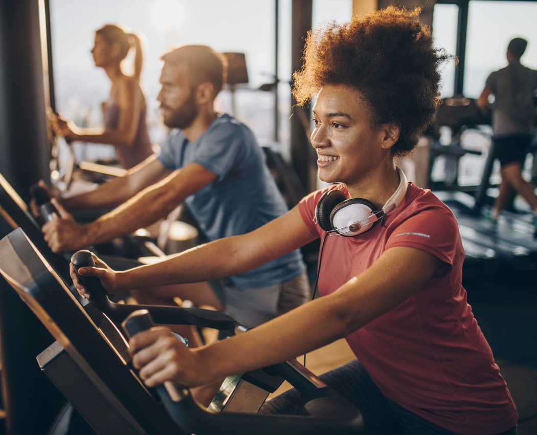 Residents working out at Diablo Pointe's fitness center in Walnut Creek, California