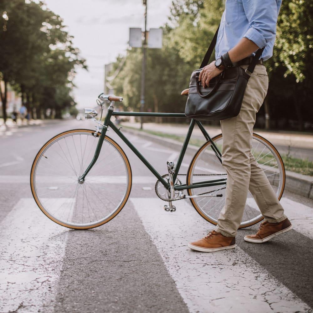 Biking in the city near Ingleside Apartments in North Charleston, South Carolina