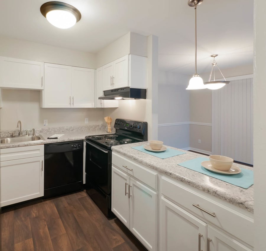 Kitchen with white cabinets at Riverside North in Chattanooga, Tennessee