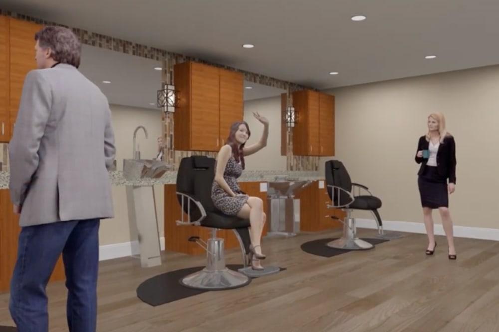 A rendering of the onsite salon at Harmony at Greensboro in Greensboro, North Carolina