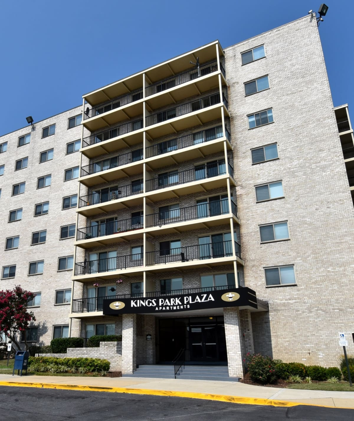 Welcome Sign at Kings Park Plaza Apartment Homes in Hyattsville, Maryland