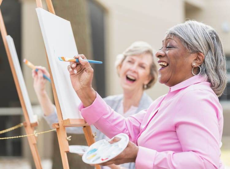 residents painting outside